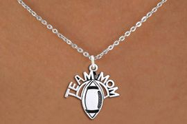 """<br>  WHOLESALE FOOTBALL NECKLACE JEWELRY <bR>                    EXCLUSIVELY OURS!! <BR>               AN ALLAN ROBIN DESIGN!! <BR>      CLICK HERE TO SEE 1000+ EXCITING <BR>            CHANGES THAT YOU CAN MAKE! <BR>         CADMIUM, LEAD & NICKEL FREE!! <BR>        W1488SN - DETAILED SILVER TONE <BR>   """"TEAM MOM"""" FOOTBALL CHARM & NECKLACE <BR>              FROM $4.50 TO $8.35 �2013"""
