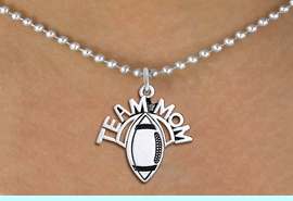 """<br>  WHOLESALE FOOTBALL NECKLACE JEWELRY <bR>                    EXCLUSIVELY OURS!! <BR>               AN ALLAN ROBIN DESIGN!! <BR>      CLICK HERE TO SEE 1000+ EXCITING <BR>            CHANGES THAT YOU CAN MAKE! <BR>         CADMIUM, LEAD & NICKEL FREE!! <BR>        W1488SN - DETAILED SILVER TONE <BR>   """"TEAM MOM"""" FOOTBALL CHARM & NECKLACE <BR>              FROM $4.85 TO $8.30 �2013"""