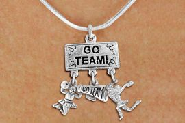 """<br> WHOLESALE GO TEAM CHEER NECKLACE<Br>                EXCLUSIVELY OURS!! <Br>           AN ALLAN ROBIN DESIGN!! <Br>              LEAD & NICKEL FREE!! <BR>  W20131N - SILVER TONE """"GO TEAM!"""" <BR>  CHEERLEADING THEMED PENDANT WITH <BR> """"GO TEAM"""" MEGAPHONE & CHEERLEADERS <BR>           ON SNAKE CHAIN NECKLACE <BR>          FROM $7.85 TO $17.50 �2013"""