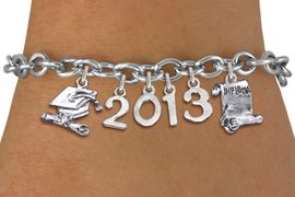 <br>  WHOLESALE GRADUATION CHARM BRACELETS! <Br>                     EXCLUSIVELY OURS!! <Br>                AN ALLAN ROBIN DESIGN!! <Br>                   LEAD & NICKEL FREE!! <BR>            THIS IS A PERSONALIZED ITEM <Br>    W20408B - SILVER TONE TOGGLE CLASP <BR>  DIPLOMA AND CAP, CUSTOM YEAR BRACELET <BR>            FROM $9.00 TO $20.00 �2013