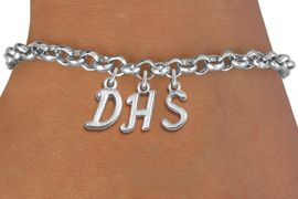 <br> WHOLESALE HIGH SCHOOL JEWELRY<Br>                    EXCLUSIVELY OURS!!<Br>              AN ALLAN ROBIN DESIGN!!<Br>                   LEAD & NICKEL FREE!! <BR>         THIS IS A PERSONALIZED ITEM <Br>  W20085B - SILVER TONE LOBSTER CLASP <BR>     CUSTOM CHARM BRACELET WITH YOUR <BR>  PERSONAL HIGH SCHOOL INITIALS <BR>          FROM $4.50 TO $10.00 �2013