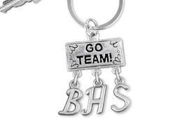 "<br> WHOLESALE HIGH SCHOOL KEY RING<Br>                  EXCLUSIVELY OURS!!<Br>            AN ALLAN ROBIN DESIGN!!<Br>                 LEAD & NICKEL FREE!! <BR>       THIS IS A PERSONALIZED ITEM <Br> W20098KC - SILVER TONE ""GO TEAM!"" <BR> CHARM ON CUSTOM KEY RING WITH <BR>    YOUR HIGH SCHOOL INITIALS <BR>        FROM $6.41 TO $14.25 �2013"
