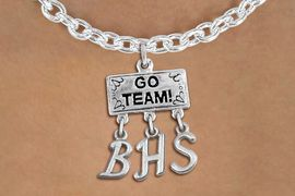 "<br> WHOLESALE HIGH SCHOOL NECKLACE<Br>                  EXCLUSIVELY OURS!!<Br>            AN ALLAN ROBIN DESIGN!!<Br>                 LEAD & NICKEL FREE!! <BR>       THIS IS A PERSONALIZED ITEM <Br> W20110N - SILVER TONE ""GO TEAM!"" <BR> CHARM ON TOGGLE CHAIN NECKLACE WITH <BR>     YOUR HIGH SCHOOL INITIALS <BR>        FROM $7.85 TO $17.50 �2013"