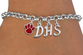 <br> WHOLESALE HIGH SCHOOL PAW JEWELRY<Br>                    EXCLUSIVELY OURS!!<Br>              AN ALLAN ROBIN DESIGN!!<Br>                   LEAD & NICKEL FREE!! <BR>         THIS IS A PERSONALIZED ITEM <Br>  W20086B - SILVER TONE LOBSTER CLASP <BR>     CUSTOM CHARM BRACELET WITH YOUR <BR>  HIGH SCHOOL INITIALS AND COLOR PAW <BR>          FROM $5.29 TO $11.75 �2013