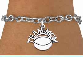 """<br>      WHOLESALE HOCKEY CHARM BRACELET <bR>                     EXCLUSIVELY OURS!! <BR>                AN ALLAN ROBIN DESIGN!! <BR>       CLICK HERE TO SEE 1000+ EXCITING <BR>             CHANGES THAT YOU CAN MAKE! <BR>          CADMIUM, LEAD & NICKEL FREE!! <BR>        W1489SB - DETAILED SILVER TONE <Br> """"TEAM MOM"""" HOCKEY CHARM & BRACELET <BR>              FROM $4.50 TO $8.35 �2013"""