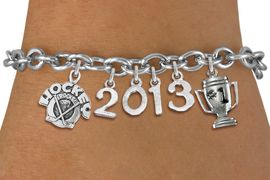"<br>    WHOLESALE HOCKEY CHARM JEWELRY!<Br>                      EXCLUSIVELY OURS!! <Br>                 AN ALLAN ROBIN DESIGN!! <Br>                    LEAD & NICKEL FREE!! <BR>             THIS IS A PERSONALIZED ITEM <Br>     W20480B - SILVER TONE TOGGLE CLASP <BR> ""HOCKEY ROCKS"", #1 TROPHY AND CUSTOM <BR> YEAR BRACELET FROM $9.00 TO $20.00 �2013"