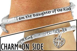 "<br>WHOLESALE  I AM THE DAUGHTER OF THE KING JEWELRY<BR>                       LEAD AND NICKEL FREE! <BR> W20054B - ""I AM THE DAUGHTER OF THE KING"" <br>     SILVER TONE CROWN AND HEART CHARM <BR>    STRETCH BRACELET FROM $7.65 TO $17.00<BR>                                           �2012"