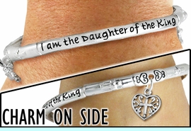 """<br>WHOLESALE  I AM THE DAUGHTER OF THE KING JEWELRY<BR>                       LEAD AND NICKEL FREE! <BR> W20054B - """"I AM THE DAUGHTER OF THE KING"""" <br>     SILVER TONE CROWN AND HEART CHARM <BR>    STRETCH BRACELET FROM $7.65 TO $17.00<BR>                                           �2012"""