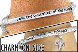 "<br>      WHOLESALE I AM THE DAUGHTER OF THE KING JEWELRY<BR>               LEAD AND NICKEL FREE! <BR> W20056B - ""I AM THE DAUGHTER OF THE KING"" <br>     SILVER TONE CROWN AND CROSS CHARM <BR>    STRETCH BRACELET FROM $7.65 TO $17.00<BR>                                             �2012"