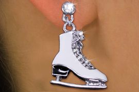 <br>      WHOLESALE ICE SKATING JEWELRY<bR>                  LEAD & NICKEL FREE!! <BR>     W20297E - SILVER TONE AND CRYSTAL <BR>         ICE SKATE POST STYLE EARRINGS <BR>            FROM $6.75 TO $15.00 �2013