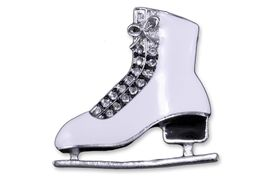 <br>  WHOLESALE ICE SKATING JEWELRY<Br>              LEAD & NICKEL FREE!! <Br>   W20298P - BEAUTIFUL SILVER TONE <BR>    AND AUSTRIAN CRYSTAL ICE SKATE <BR>     PIN OR/AND NECKLACE PENDANT <Br>        FROM $6.75 TO $15.00 �2013