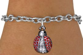 <BR>        WHOLESALE INSECT JEWELRY <bR>                EXCLUSIVELY OURS!! <Br>           AN ALLAN ROBIN DESIGN!! <BR>  CLICK HERE TO SEE 1000+ EXCITING <BR>        CHANGES THAT YOU CAN MAKE! <BR>     LEAD, NICKEL & CADMIUM FREE!! <BR> W1441SB - SILVER TONE, RED AND CLEAR <BR> CRYSTAL LADYBUG CHARM & BRACELET <BR>         FROM $5.40 TO $9.85 �2013