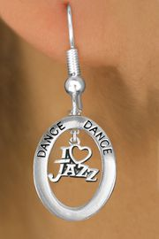"""<BR>            WHOLESALE JAZZ DANCE JEWELRY<bR>                    EXCLUSIVELY OURS!! <BR>               AN ALLAN ROBIN DESIGN!!<BR>                  LEAD & NICKEL FREE!! <BR> W20036E -  SILVER TONE """"DANCE"""" OVAL <BR>   WITH SILVER TONE """"I LOVE JAZZ"""" <BR>       CHARM ON FISHHOOK EARRINGS <BR>                    $12.68 EACH   �2013"""