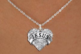 "<BR>      WHOLESALE JESUS NECKLACE<bR>                   EXCLUSIVELY OURS!! <Br>              AN ALLAN ROBIN DESIGN!! <BR>     CLICK HERE TO SEE 1000+ EXCITING <BR>           CHANGES THAT YOU CAN MAKE! <BR>        LEAD, NICKEL & CADMIUM FREE!! <BR> W1419SN - SILVER TONE ""JESUS"" CLEAR <BR>     CRYSTAL HEART CHARM AND NECKLACE <BR>            FROM $5.40 TO $9.85 �2013"