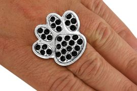 <BR>      WHOLESALE JET BLACK PAW RING<Br>            LEAD & NICKEL FREE!! <Br> W20180R - SILVER TONE & GENIUNE <BR> AUSTRIAN FACETED JET BLACK CRYSTAL <Br>    LARGE PAW PRINT STRETCH RING <BR>            FROM $5.63 TO $12.50