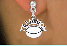 """<br> WHOLESALE JEWELRY - HOCKEY EARRINGS <bR>                  EXCLUSIVELY OURS!! <BR>             AN ALLAN ROBIN DESIGN!! <BR>       CADMIUM, LEAD & NICKEL FREE!! <BR>      W1489SE - DETAILED SILVER TONE <Br> """"TEAM MOM"""" HOCKEY CHARM EARRINGS <BR>           FROM $3.65 TO $8.40 �2013"""