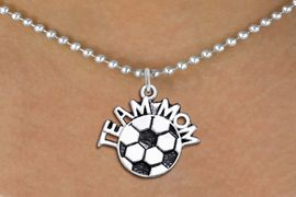 """<br>WHOLESALE JEWELRY - SOCCER NECKLACES!! <bR>                    EXCLUSIVELY OURS!! <BR>               AN ALLAN ROBIN DESIGN!! <BR>      CLICK HERE TO SEE 1000+ EXCITING <BR>            CHANGES THAT YOU CAN MAKE! <BR>         CADMIUM, LEAD & NICKEL FREE!! <BR>        W1490SN - DETAILED SILVER TONE <BR>   """"TEAM MOM"""" SOCCER CHARM & NECKLACE <BR>              FROM $4.85 TO $8.30 �2013"""