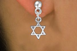 <BR>      WHOLESALE JEWISH JEWELRY<bR>              EXCLUSIVELY OURS!!<BR>        AN ALLAN ROBIN DESIGN!! <BR> CADMIUM, LEAD & NICKEL FREE!! <BR>W1330SE - SMALL SILVER TONE <BR>STAR OF DAVID CHARM EARRINGS <BR>     FROM $4.50 TO $8.35 �2012
