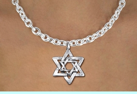 <BR>       WHOLESALE JEWISH JEWELRY<bR>                EXCLUSIVELY OURS!!<BR>          AN ALLAN ROBIN DESIGN!!<BR> CLICK HERE TO SEE 1000+ EXCITING<BR>    CHANGES THAT YOU CAN MAKE!<BR>CADMIUM, LEAD & NICKEL FREE!! <BR>W1332SN - SILVER TONE DOUBLE <BR>STAR OF DAVID CHARM & NECKLACE <BR>     FROM $4.50 TO $8.35 �2012