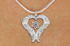 <BR>      WHOLESALE JEWISH JEWELRY<bR>               EXCLUSIVELY OURS!! <BR>             LEAD & NICKEL FREE!! <BR>   JEWISH THEMED CHARM NECKLACE!! <BR>   W20274N - GUARDIAN ANGEL WINGS <Br> WITH DETAILED DOUBLE STAR OF DAVID <BR>   CHARM ON SNAKE CHAIN NECKLACE <BR>      FROM $5.63 TO $12.50 �2013