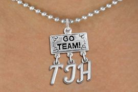 "<br> WHOLESALE JUNIOR HIGH SCHOOL JEWELRY<Br>                  EXCLUSIVELY OURS!!<Br>            AN ALLAN ROBIN DESIGN!!<Br>                 LEAD & NICKEL FREE!! <BR>       THIS IS A PERSONALIZED ITEM <Br> W20103N - SILVER TONE ""GO TEAM!"" <BR> CHARM ON BALL CHAIN NECKLACE WITH <BR> YOUR JUNIOR HIGH SCHOOL INITIALS <BR>        FROM $7.85 TO $17.50 �2013"