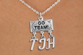 "<br>WHOLESALE JUNIOR HIGH SCHOOL NECKLACE<Br>                  EXCLUSIVELY OURS!!<Br>            AN ALLAN ROBIN DESIGN!!<Br>                 LEAD & NICKEL FREE!! <BR>       THIS IS A PERSONALIZED ITEM <Br> W20107N - SILVER TONE ""GO TEAM!"" <BR> CHARM ON CHAIN LINK NECKLACE WITH <BR>    YOUR JUNIOR HIGH SCHOOL INITIALS <BR>        FROM $7.85 TO $17.50 �2013"