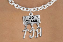 "<br> WHOLESALE JUNIOR HIGH SCHOOL NECKLACE<Br>                  EXCLUSIVELY OURS!!<Br>            AN ALLAN ROBIN DESIGN!!<Br>                 LEAD & NICKEL FREE!! <BR>       THIS IS A PERSONALIZED ITEM <Br> W20111N - SILVER TONE ""GO TEAM!"" <BR> CHARM ON TOGGLE CHAIN NECKLACE WITH <BR>  YOUR JUNIOR HIGH SCHOOL INITIALS <BR>        FROM $7.85 TO $17.50 �2013"