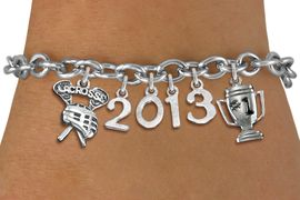 "<br>    WHOLESALE LACROSSE CHARM BRACELET! <Br>                      EXCLUSIVELY OURS!! <Br>                 AN ALLAN ROBIN DESIGN!! <Br>                    LEAD & NICKEL FREE!! <BR>             THIS IS A PERSONALIZED ITEM <Br>     W20474B - SILVER TONE TOGGLE CLASP <BR>  ""LACROSSE"", #1 TROPHY AND CUSTOM YEAR <BR>     BRACELET FROM $9.00 TO $20.00 �2013"