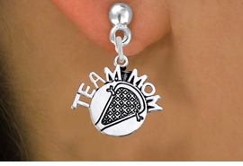 "<br>       WHOLESALE LACROSSE EARRING<bR>                 EXCLUSIVELY OURS!! <BR>            AN ALLAN ROBIN DESIGN!! <BR>      CADMIUM, LEAD & NICKEL FREE!! <BR>     W1483SE - DETAILED SILVER TONE <Br> ""TEAM MOM"" LACROSSE CHARM EARRINGS <BR>          FROM $3.65 TO $8.40 �2013"