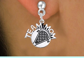 """<br>       WHOLESALE LACROSSE EARRING<bR>                 EXCLUSIVELY OURS!! <BR>            AN ALLAN ROBIN DESIGN!! <BR>      CADMIUM, LEAD & NICKEL FREE!! <BR>     W1483SE - DETAILED SILVER TONE <Br> """"TEAM MOM"""" LACROSSE CHARM EARRINGS <BR>          FROM $3.65 TO $8.40 �2013"""
