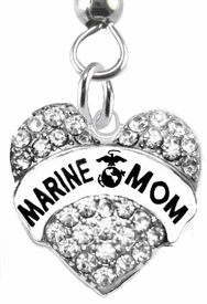 "<BR>      WHOLESALE ""MARINE MOM"" EARRING <BR>                           �2015  $14.68 Each <BR>EXCLUSIVELY OURS! AN ALLAN ROBIN DESIGN!!  <BR>           NICKEL,   LEAD, & CADMIUM FREE!!  <BR>                W1810E1 -  SILVER TONE AND  <BR>      CLEAR CRYSTAL ""MARINE MOM"" CHARM  <BR>     ON SURGICAL STEEL FISHHOOK EARRINGS"