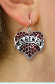 "<BR>   LEAD, NICKEL & CADMIUM FREE!! <BR>  W1478SE - SILVER TONE ""MARINES"" <BR> RED CRYSTAL HEART CHARM EARRINGS <BR>                  $12.68 EACH  �2013"
