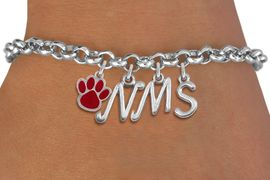 <br> WHOLESALE MIDDLE SCHOOL BRACELET<Br>                    EXCLUSIVELY OURS!!<Br>              AN ALLAN ROBIN DESIGN!!<Br>                   LEAD & NICKEL FREE!! <BR>         THIS IS A PERSONALIZED ITEM <Br>  W20088B - SILVER TONE LOBSTER CLASP <BR>     CUSTOM CHARM BRACELET WITH YOUR <BR>MIDDLE SCHOOL INITIALS AND COLOR PAW <BR>          FROM $5.29 TO $11.75 �2013