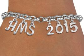 <br> WHOLESALE MIDDLE SCHOOL GRADUATION JEWELRY<Br>                     EXCLUSIVELY OURS!!<Br>              AN ALLAN ROBIN DESIGN!!<Br>                   LEAD & NICKEL FREE!! <BR>         THIS IS A PERSONALIZED ITEM <Br>  W20081B - SILVER TONE LOBSTER CLASP <BR>     CUSTOM CHARM BRACELET WITH YOUR <BR>MIDDLE SCHOOL INITIALS AND YEAR <BR>          FROM $7.85 TO $17.50 �2013