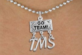 "<br> WHOLESALE MIDDLE SCHOOL JEWELRY<Br>                  EXCLUSIVELY OURS!!<Br>            AN ALLAN ROBIN DESIGN!!<Br>                 LEAD & NICKEL FREE!! <BR>       THIS IS A PERSONALIZED ITEM <Br> W20104N - SILVER TONE ""GO TEAM!"" <BR> CHARM ON BALL CHAIN NECKLACE WITH <BR>   YOUR MIDDLE SCHOOL INITIALS <BR>        FROM $7.85 TO $17.50 �2013"
