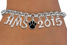 <br> WHOLESALE MIDDLE SCHOOL PAW JEWELRY<Br>                    EXCLUSIVELY OURS!!<Br>              AN ALLAN ROBIN DESIGN!!<Br>                   LEAD & NICKEL FREE!! <BR>         THIS IS A PERSONALIZED ITEM <Br>  W20082B - SILVER TONE LOBSTER CLASP <BR>     CUSTOM CHARM BRACELET WITH YOUR <BR>MIDDLE SCHOOL INITIALS, PAW AND YEAR <BR>          FROM $9.00 TO $20.00 �2013