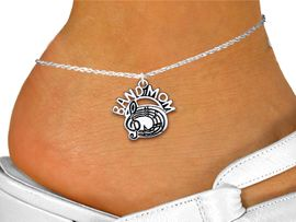 """<bR>           BAND MOM ANKLET JEWELRY <BR>                  EXCLUSIVELY OURS!! <BR>             AN ALLAN ROBIN DESIGN!! <BR>       CADMIUM, LEAD & NICKEL FREE!! <BR>     W1485SAK - DETAILED SILVER TONE <Br> """"TEAM MOM"""" BAND / CHOIR CHARM & ANKLET <BR>                       $8.38 EACH �2013"""