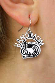 """<br>      WHOLESALE MUSIC CHARM EARRINGS <bR>                  EXCLUSIVELY OURS!! <BR>             AN ALLAN ROBIN DESIGN!! <BR>       CADMIUM, LEAD & NICKEL FREE!! <BR>      W1485SE - DETAILED SILVER TONE <Br> """"BAND MOM"""" BAND / CHOIR CHARM EARRINGS <BR>           FROM $3.65 TO $8.40 �2013"""