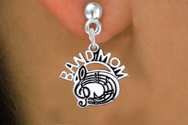 """<br>         WHOLESALE MUSIC EARRINGS <bR>                  EXCLUSIVELY OURS!! <BR>             AN ALLAN ROBIN DESIGN!! <BR>       CADMIUM, LEAD & NICKEL FREE!! <BR>      W1485SE - DETAILED SILVER TONE <Br> """"BAND MOM"""" BAND / CHOIR CHARM EARRINGS <BR>           FROM $3.65 TO $8.40 �2013"""
