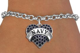 <BR>  WHOLESALE NAVY BRACELET JEWELRY <bR>                EXCLUSIVELY OURS!! <Br>           AN ALLAN ROBIN DESIGN!! <BR>  CLICK HERE TO SEE 1000+ EXCITING <BR>        CHANGES THAT YOU CAN MAKE! <BR>     LEAD, NICKEL & CADMIUM FREE!! <BR>          W1479SB - SILVER TONE NAVY <BR>  CRYSTAL HEART CHARM & BRACELET <BR>         FROM $5.40 TO $9.85 �2013