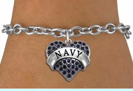 <BR>  WHOLESALE NAVY BRACELET JEWELRY <bR>                EXCLUSIVELY OURS!! <Br>           AN ALLAN ROBIN DESIGN!! <BR>  CLICK HERE TO SEE 1000+ EXCITING <BR>        CHANGES THAT YOU CAN MAKE! <BR>     LEAD, NICKEL & CADMIUM FREE!! <BR>           W1479SB - SILVER TONE  NAVY<BR>  CRYSTAL HEART CHARM & BRACELET <BR>         FROM $5.40 TO $9.85 �2013