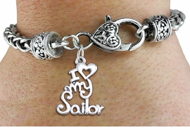 "<bR>       WHOLESALE NAVY CHARM BRACELET <BR>                     EXCLUSIVELY OURS!! <BR>                AN ALLAN ROBIN DESIGN!! <BR>          CADMIUM, LEAD & NICKEL FREE!! <BR>        W1499SB - BEAUTIFUL SILVER TONE  <BR>  ""I LOVE MY SAILOR"" CHARM & HEART CLASP <BR>      BRACELET FROM $4.64 TO $8.75 �2013"