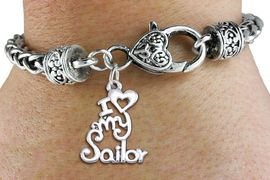 """<bR>       WHOLESALE NAVY CHARM BRACELET <BR>                     EXCLUSIVELY OURS!! <BR>                AN ALLAN ROBIN DESIGN!! <BR>          CADMIUM, LEAD & NICKEL FREE!! <BR>        W1499SB - BEAUTIFUL SILVER TONE  <BR>  """"I LOVE MY SAILOR"""" CHARM & HEART CLASP <BR>      BRACELET FROM $4.64 TO $8.75 �2013"""