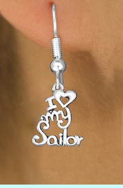 """<br>        WHOLESALE NAVY EARRINGS <bR>                 EXCLUSIVELY OURS!! <BR>            AN ALLAN ROBIN DESIGN!! <BR>      CADMIUM, LEAD & NICKEL FREE!! <BR>    W1499SE - BEAUTIFUL SILVER TONE <Br>  """"I LOVE MY SAILOR"""" CHARM EARRINGS <BR>          FROM $3.65 TO $8.40 �2013"""
