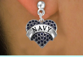"<BR>   LEAD, NICKEL & CADMIUM FREE!! <BR>  W1479SE - SILVER TONE ""NAVY"" NAVY <BR>    CRYSTAL HEART CHARM EARRINGS <BR>                    $12.68 EACH �2013"
