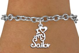 """<br>      WHOLESALE NAVY FASHION BRACELET <bR>                    EXCLUSIVELY OURS!!<BR>               AN ALLAN ROBIN DESIGN!!<BR>      CLICK HERE TO SEE 1000+ EXCITING<BR>            CHANGES THAT YOU CAN MAKE!<BR>         CADMIUM, LEAD & NICKEL FREE!!<BR>     W1499SB - BEAUTIFUL SILVER TONE <Br> """"I LOVE MY SAILOR"""" CHARM & BRACELET <BR>             FROM $4.50 TO $8.35 �2013"""