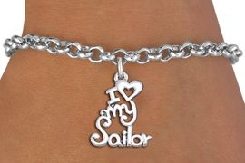 """<br>      WHOLESALE NAVY FASHION BRACELET <bR>                    EXCLUSIVELY OURS!!<BR>               AN ALLAN ROBIN DESIGN!!<BR>      CLICK HERE TO SEE 1000+ EXCITING<BR>            CHANGES THAT YOU CAN MAKE!<BR>         CADMIUM, LEAD & NICKEL FREE!!<BR>     W1499SB - BEAUTIFUL SILVER TONE <Br> """"I LOVE MY SAILOR"""" CHARM & BRACELET <BR>             FROM $4.15 TO $8.00 �2013"""