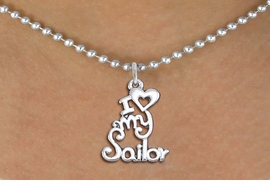 "<br>   WHOLESALE NAVY NECKLACE JEWELRY <bR>                   EXCLUSIVELY OURS!! <BR>              AN ALLAN ROBIN DESIGN!! <BR>     CLICK HERE TO SEE 1000+ EXCITING <BR>           CHANGES THAT YOU CAN MAKE! <BR>        CADMIUM, LEAD & NICKEL FREE!! <BR>     W1499SN - BEAUTIFUL SILVER TONE <BR>    ""I LOVE MY SAILOR"" CHARM & NECKLACE <BR>             FROM $4.85 TO $8.30 �2013"