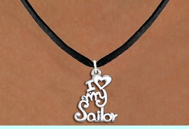 """<br>   WHOLESALE NAVY NECKLACE JEWELRY <bR>                   EXCLUSIVELY OURS!! <BR>              AN ALLAN ROBIN DESIGN!! <BR>     CLICK HERE TO SEE 1000+ EXCITING <BR>           CHANGES THAT YOU CAN MAKE! <BR>        CADMIUM, LEAD & NICKEL FREE!! <BR>     W1499SN - BEAUTIFUL SILVER TONE <BR>    """"I LOVE MY SAILOR"""" CHARM & NECKLACE <BR>             FROM $4.50 TO $8.35 �2013"""