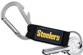 <bR> WHOLESALE NFL FOOTBALL TEAM KEYCHAIN <BR>     OFFICIAL FOOTBALL LICENSED!! <br>             LEAD & NICKEL FREE!!! <br>W20552KC - OFFICIAL PITTSBURGH STEELERS <BR>  CARABINER WITH BOTTLE OPENER AND <BR>      KEY CHAIN YOURS FOR $1.43 To $1.68 EACH �2013